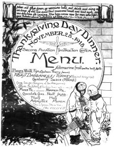 "The Thanksgiving Menu in Tours during World War I in 1918 included turkey, cranberry sauce and pumpkin pie, along with the appropriately named ""Armistice Punch."""