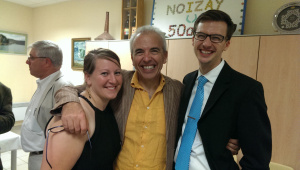 Clara with Mark (right) and François Le Roux (center), artistic director of the Academie Francis Poulenc